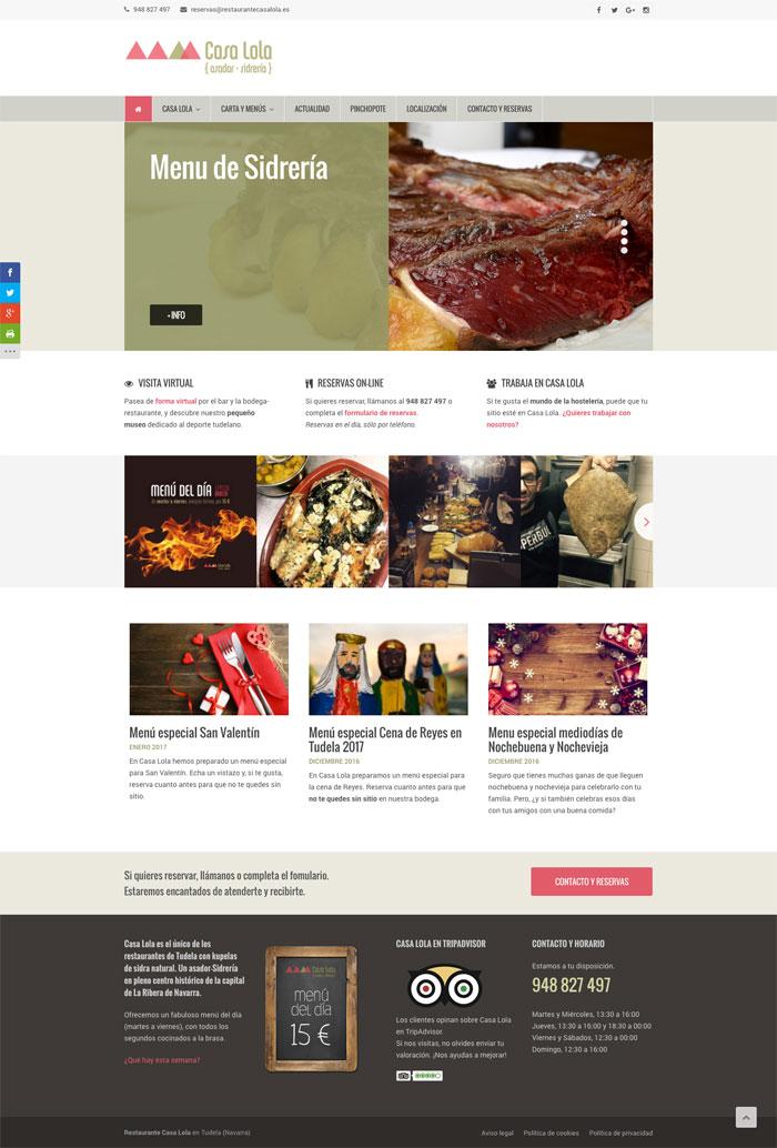 Página Web Restaurante Casa Lola