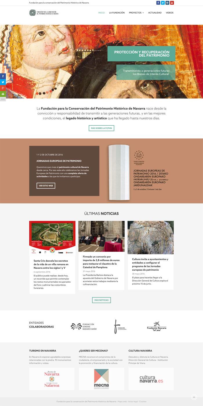 Página Web Fundación Para La Conservación Del Patrimonio Histórico De Navarra
