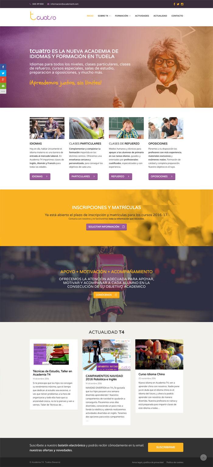 Página Web Academia T4