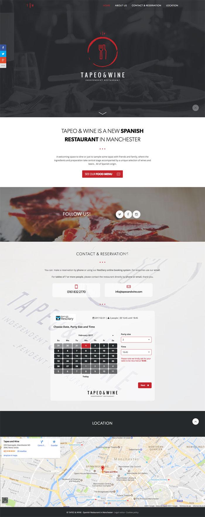 Página Web Tapeo & Wine