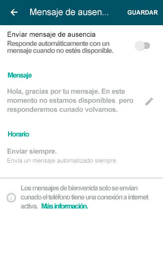 Mensaje ausencia WhatsApp Business