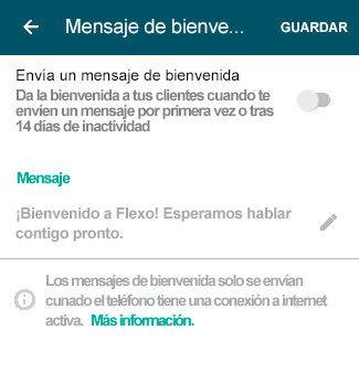 Mensaje de bienvenida WhatsApp Business